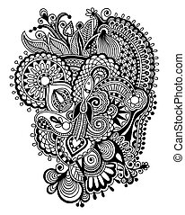 black zentangle line art flower drawing - black and white...