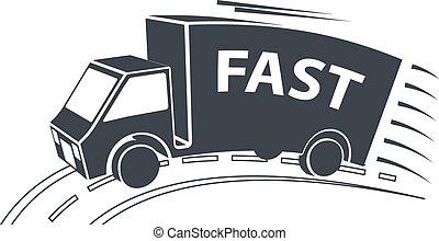 Vector Delivery Van Icon - Delivery Van, Vector Illustration