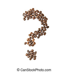 question marks from coffee beans. isolated on white.