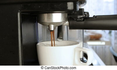 coffee machine Making Cappuccino in cup
