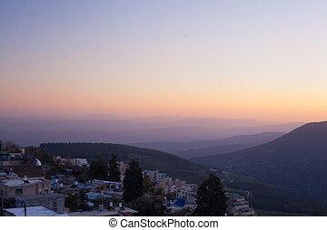 el, pueblo, de, Safed, en, norteño, israel, en, el,...