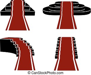 Vector Staircases with Red Carpet