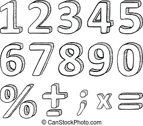 Vector Hand Drawn Numbers