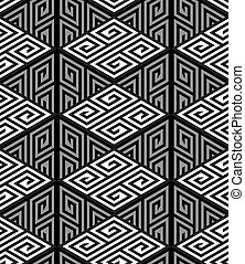 Vector ZigZag Seamless Pattern - 3D Zig Zag Cube Holes, Op...