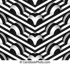 Vector Hemisphere Seamless Pattern - Striped 3D Hemisphere...
