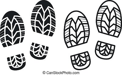 Vector Work Boots Print - Work Boots Print, Black and White...