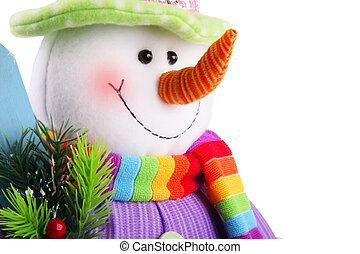 Christmas snowman isolated on a white background - Funny...