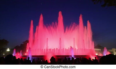 vocal Montjuic fountain in Barcelon - Evening view at...