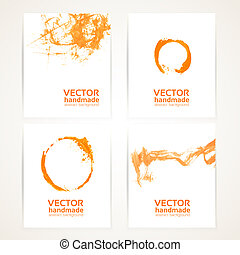 Abstract orange and white brush texture and circles handdrawing on  banner set 1