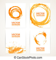 Abstract orange and white brush texture and circles...