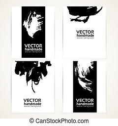 Black and white abstract brush texture handdrawing on banner set 1