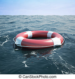 Lifebuoy in the sea, the ocean. 3d illustration high...