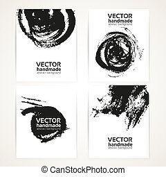Black and white brush texture hand drawing on  banner set 1