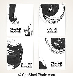 Abstract black and white texture brush drawing on banner set 1