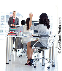 Busineswoman asking a question in a meeeting office -...