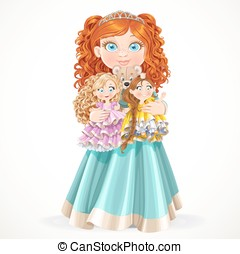 little red-haired princess holding in arms dolls - Cute...