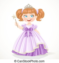 Cute little princess in purple dress and tiara holding magic...