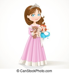 little princess holding soft toys - Beautiful little...