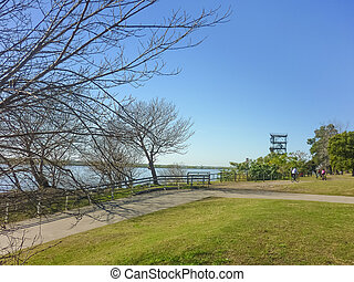 Sunny Sunday in Rosario Argentina - Beautiful park at front...