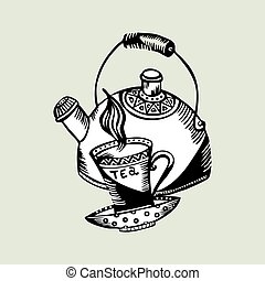 vector illustration retro teapot and cups