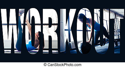 Conceptual collage of sports photos in the form of the word...
