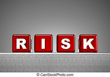 Dice spelling the word risk