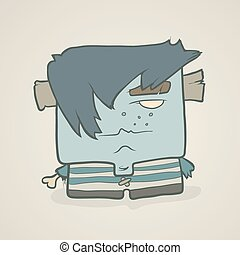 Illustration hand drawn cartoon boy zombie in a striped vest