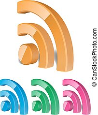 3D RSS Icon Vector Illustration
