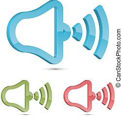 3D Speaker Icon Vector Illustration