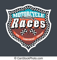 Motorcycle Thrilling Races Badge, T-shirt Typography...