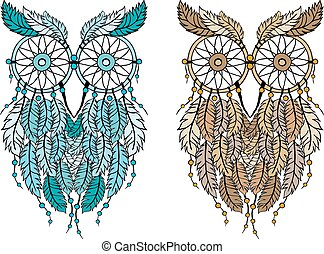 dreamcatcher owl, vector - dreamcatcher owl, hand-drawn...