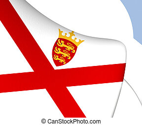 Bailiwick of Jersey Flag. Close Up.