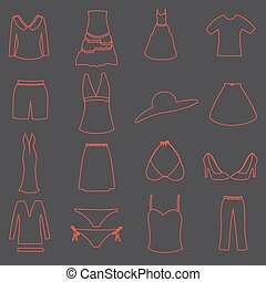 womens clothing simple outline icons set eps10