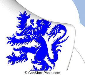 Flag of Tervuren, Belgium. Close Up.