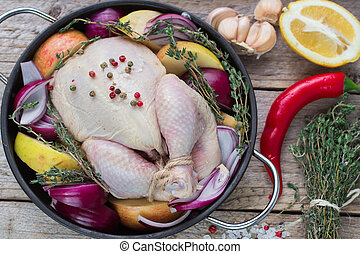 Fresh raw chicken for cooking with vegetables - Fresh raw...