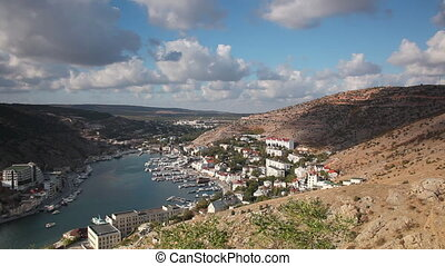 Panoramic view of Balaklava Bay from the hill, Crimea