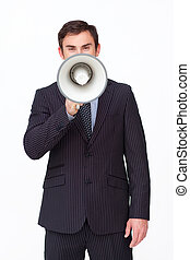 Young businessman shouting through a megaphone agaisnt white