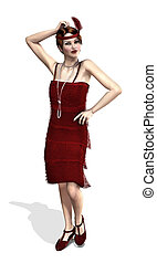 1920's Flapper in Red - A fashionable flapper girl from the...