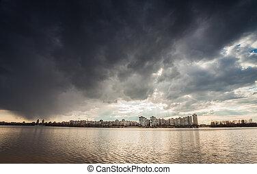 Storm dark clouds