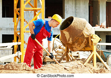 builder worker at construction with mixer