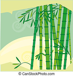 Bamboo - Cartoons Bamboo trees sunrise, vector