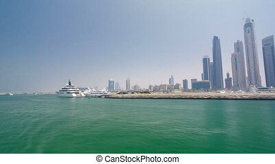 Boat trip on the ship-restaurant by the channel in Dubai...