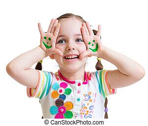 Happy kid girl showing painted hands with funny face