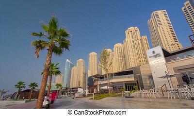 Dubai Jumeirah Beach Residence Panorama with palms timelapse...