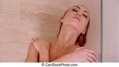Close up Sensual Naked Young Woman Under a Shower - Close up...