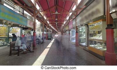At entrance of the Dubai Gold Souq in Dubai timelapse hyperlapse