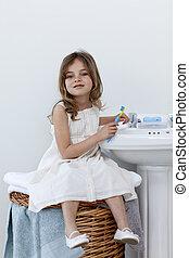 浴室, 她, 坐, 很少, 清掃, 牙齒, 女孩