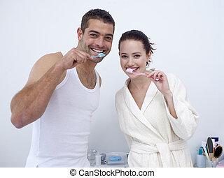 清掃, 他們, 浴室, 夫婦, 牙齒