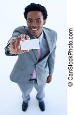 African businessman showing a small business card - High...