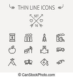 Ecology thin line icon set for web and mobile Set includes -...